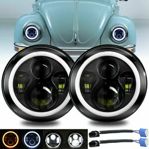 """7"""" Inch Round LED Headlight  Ring DRL Light Lamp For VW Beetle 1967-1979"""