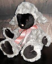 Boyds Bears Gray & Black Lamb Pink Bow rosette fur soft beanie belly sweet plush