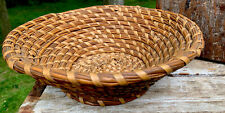 Vtg Coiled Rye Basket Hand Woven Rye Grass Basket Cottage