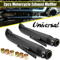 2X 52.5cm Motorcycle Cafe Racer Exhaust Pipe Iron For Chopper Bobbers Custom