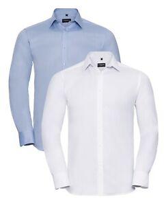 Russell pour Hommes Bleu ou Blanc Manches Longues à Chevrons Chemise