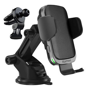 Kamon 15W Fast Wireless Car Charger Mount,  Auto-Clamping, Power-Off Delay C60