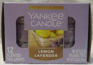 Yankee Candle 12 Scented Tea Light T/L Box Candles LEMON LAVENDER