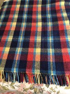 Italian Plaid Wool Blanket Heavy Abruzzo Italy