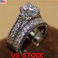 US Women Engagement Wedding 2Pcs Ring Set Cubic Zircon Silver Ring Jewelry Gifts