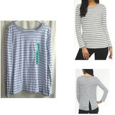 Splendid Womens Long Sleeve T Shirt Top Htr Grey Stripe Back Button Accent XL NW