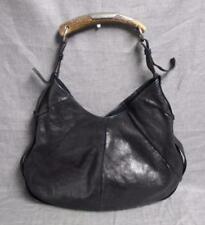 Yves Saint Laurent Black Leather Mombasa Shoulder Hand Bag With Horn Handle