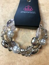 Bracelet Pearls Crystals Silver-New Paparazzi Downtown Dazzle Stretch 2-Strands