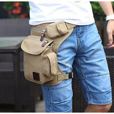Men Multi Functional Canvas Tactical Motorcycle Fanny Pack Waist Thigh Leg Bag