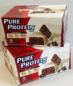 12 p. Pure Protein Bars Red Velvet Gluten Free 20g 3g 190 calories NEW 2 boxes