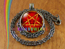 Vintage Antique Pentagram Satan Satanic Necklace Pendant Jewelry Gift (1)