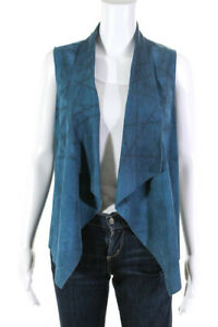 Elie Tahari  Womens Suede Perforated Vest Teal Size Extra Small