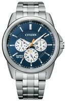 Citizen Men's Quartz Blue Multi Dial Calendar Silver Tone 42mm Watch AG8340-58L