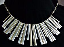 "NWT Liz Claiborne 17"" Necklace - Tri-Tone Metal Fringe (Silver, Gold & Bronze)"