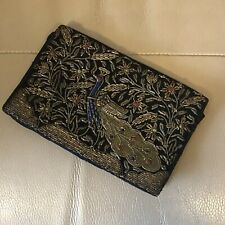 1950s Clutch 1940s Velvet Evening Bag Metallic Embroidery Victorian Style Old