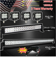 "42Inch LED Off road Light Bar Combo + 20"" +4"" CREE PODS SUV 4WD UTE FORD JEEP 40"