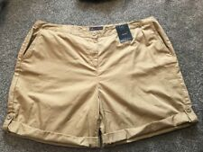 M&S  Women Neutral 100% Cotton Roll Up Shorts BNWT Size 22 Free Sameday Postage