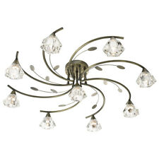 Searchlight 9 Lights Antique Brass Glass Modern Ceiling Flush Fitting Chandelier