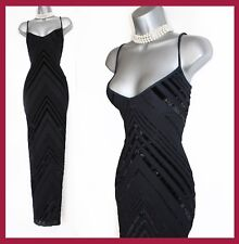 Karen Millen UK 14 Black & Velvet Thin Straps V Neck Cocktail Maxi Long Dress 42