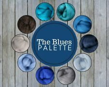 The Blues Color Palette Wool Roving Fiber 2.5oz/70 gms Needle Felting Spinning