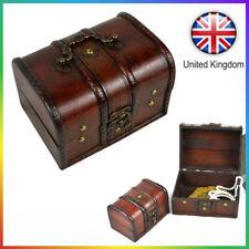 Vintage Jewellery Organizer Storage Box Holder Wooden Pirate Trinket Camera Prop