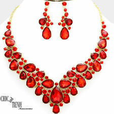 HIGH QUALITY RED GLASS CRYSTAL WEDDING FORMAL CHUNKY NECKLACE JEWELRY SET TRENDY