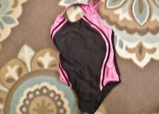 Speedo Girls Size 14 Black Pink Swim Suit