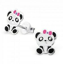 Childrens Girls Sterling Silver Panda-Pink Bow Stud Earrings-Boxed