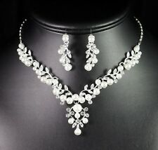 Pearl Cluster Clear Austrian Rhinestone Necklace Earring Set Prom Bridal Wed N97