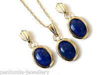 9ct Gold Lapis Lazuli Pendant Necklace and Earring Set Gift Boxed UK Made