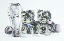 YORKSHIRE TERRIER YORKIE Chiot chiots chien art Édition Limitée Imprimé vente