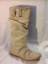 Ladies Beige Knee High Suede Boots Size 6