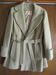 Vintage Pendleton Women's Mid-Length Belted Wool Coat - Cream - Size S
