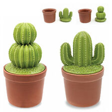 SET OF 2 CACTUS STORAGE JAR LID CANISTER KITCHEN COOKIE ORGANISER 20CM OFFICE