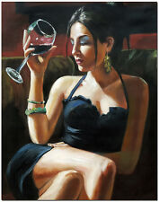 """Lady At The Bar - 20x24"""" Hand Painted Portrait Oil Painting Modern Wall Art"""