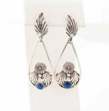 "Floral Teardrop Dangle Earrings 2"" Carolyn Pollack Sterling Silver Lapis"