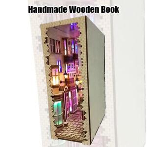 Handmade Wooden Book Nook Art Bookends Removable Decoration Castle Building Book