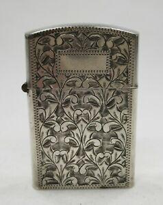 Vintage Flip Top Lighter in Sterling Silver Engraved Brite Cut Case No Monogram