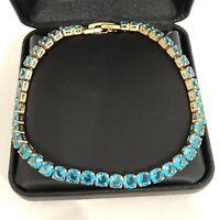 23.4 Ct Blue Aquamarine Tennis Bracelet Jewelry Women Wedding Gift