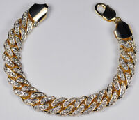 Mens Diamond Miami Cuban Curb Link Bracelet Solid 10K Yellow Gold 8 3/4 inches