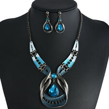 Women's Luxury Crystal Chunky Statement Chain Bib Necklace/Earring Jewelry Gift