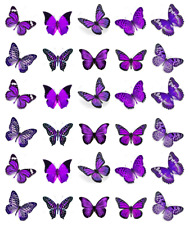 30 x Purple Butterflies Cupcake Toppers Edible Wafer Paper Fairy Cake Toppers