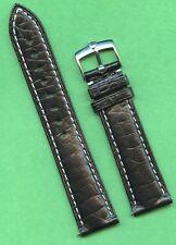 GENUINE ROLEX STEEL BUCKLE & BLACK GEN. ALLIGATOR STRAP BAND 20mm LEATHER LINED