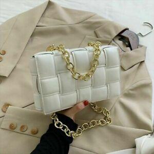 Women Padded Cassette Bag Crossbody Shoulder Purse Woven Clutch Pouch PU Leather