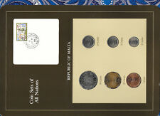 Coin Sets of All Nations Malta Brown 1972-1986 UNC 1 cent 1977 5,10 cts 1986