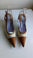 Audley women brown & white leather & cotton Sling Back Shoes Size UK 7/41
