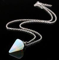 1x Crystal Gemstone Quartz Pendulum Healing Dowsing Reiki Chakra Pendant Chain