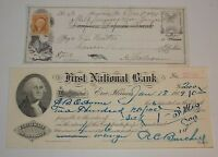 Antique 1870 1909 Cancelled Checks First National Bank Erie Illinois Somerset PA