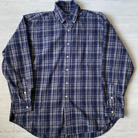Ralph Lauren Mens Blake Cotton Long Sleeve Plaid Button Up Shirt Blue Size XL