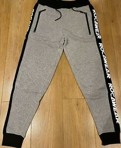 Rocawear grey joggers, urban hip hop tracksuit bottoms, slim fit S-XL sports